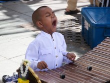 A little boy playing a xylophone